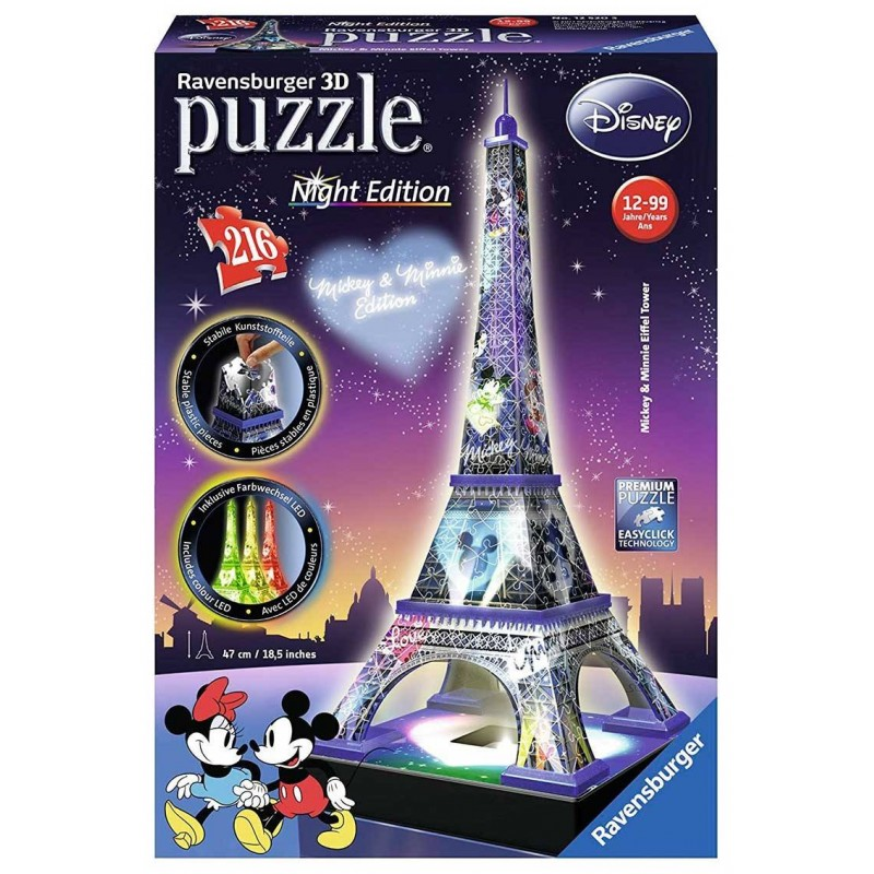 Puzzle 3D Ravensburger Torre Eiffel Disney Night Edition de 216 piezas