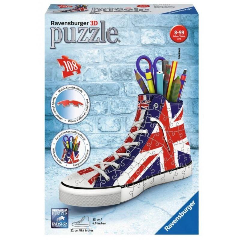 Puzzle 3D Ravensburger Sneaker Union Jack portalápices de 108 piezas