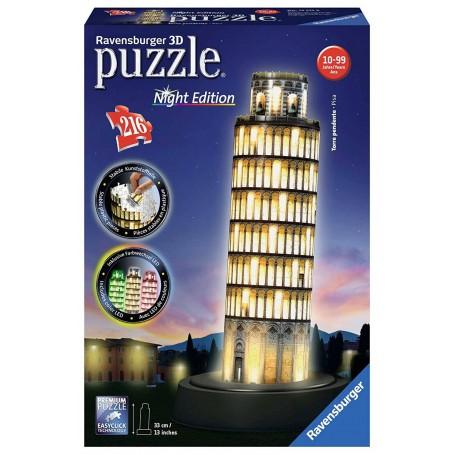 Puzzle 3D Ravensburger Torre de Pisa Night Edition de 216 piezas