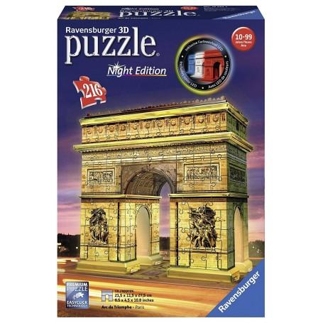 Puzzle 3D Ravensburger Arco del Triunfo Night Edition de 216 piezas