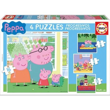 Puzzle Educa Peppa Pig Progresivo 6 + 9 + 12 + 16 Piezas