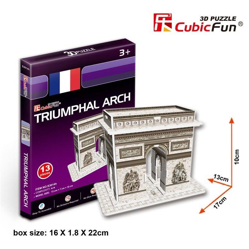 Puzzle 3D Arco de Triunfo del París Mini Cubic Fun 13 Piezas