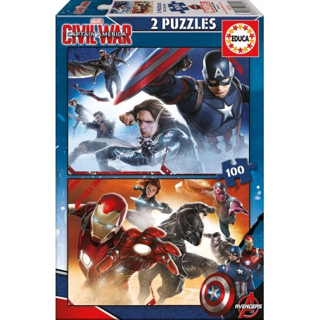 Puzzle Educa Capitan America Civil War 2x100 Piezas