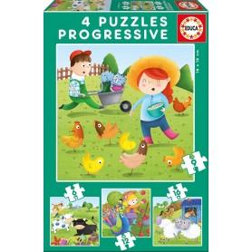 Puzzle Educa Animales de la Granja Progresivo 6-9-12-16 Piezas