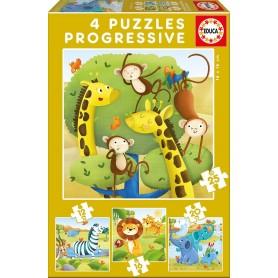 Puzzle Educa Animales Salvajes Progresivo 12-16-20-25 Piezas