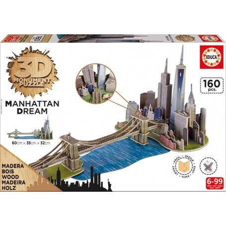 Puzzle Educa 3D Manhattan Dream de 160 Piezas